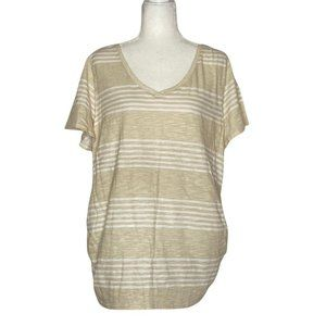 Lane Bryant Women's Beige and White Striped Blouse